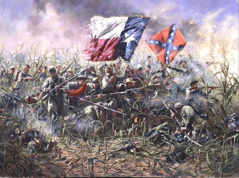 Lone Star  1st Texas Regiment a Antietam  Don Troiani artwork  The renowned Texas brigade starved and sleep deprived managed to take the field from the Northerners in perhaps the most vicious and definitely most bloody battle of the entire war. The Texans suffered an 82% CASUALTY RATE in the fray.