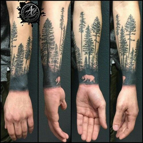 Reverse Silhouette Forest Tattoos Tree Sleeve Tattoo Arm Tattoos For Guys