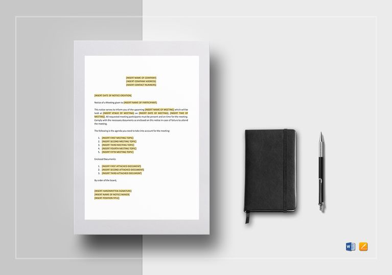 Notice of Meeting Template Commercial printing and Template
