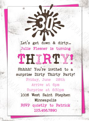 Dirty Thirty Pink 30th Birthday Party Printable Invitation At