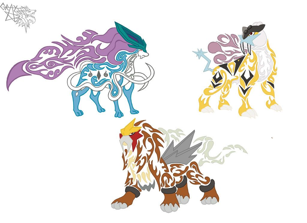 Three Legendary Dogs Of Pokemon Google Search Tribal Pokemon Pokemon Tattoo Pokemon