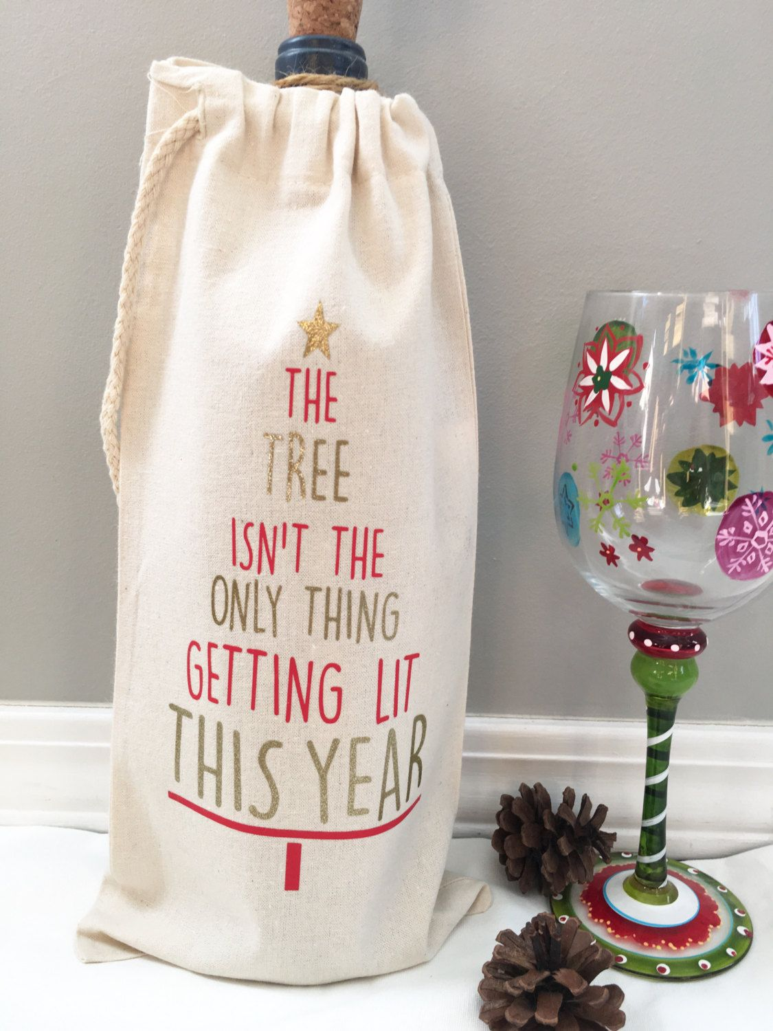 12 x Christmas Wine Bottle Gift Bags Champagne Xmas Present Wine Carrier Handles