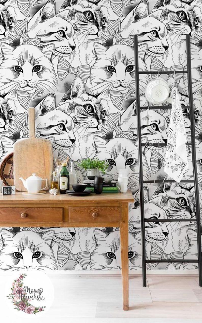 Elegant Cats Removable Wallpaper Animals Wall Mural Domestic Etsy Wallpaper Removable Wallpaper Mural Wallpaper