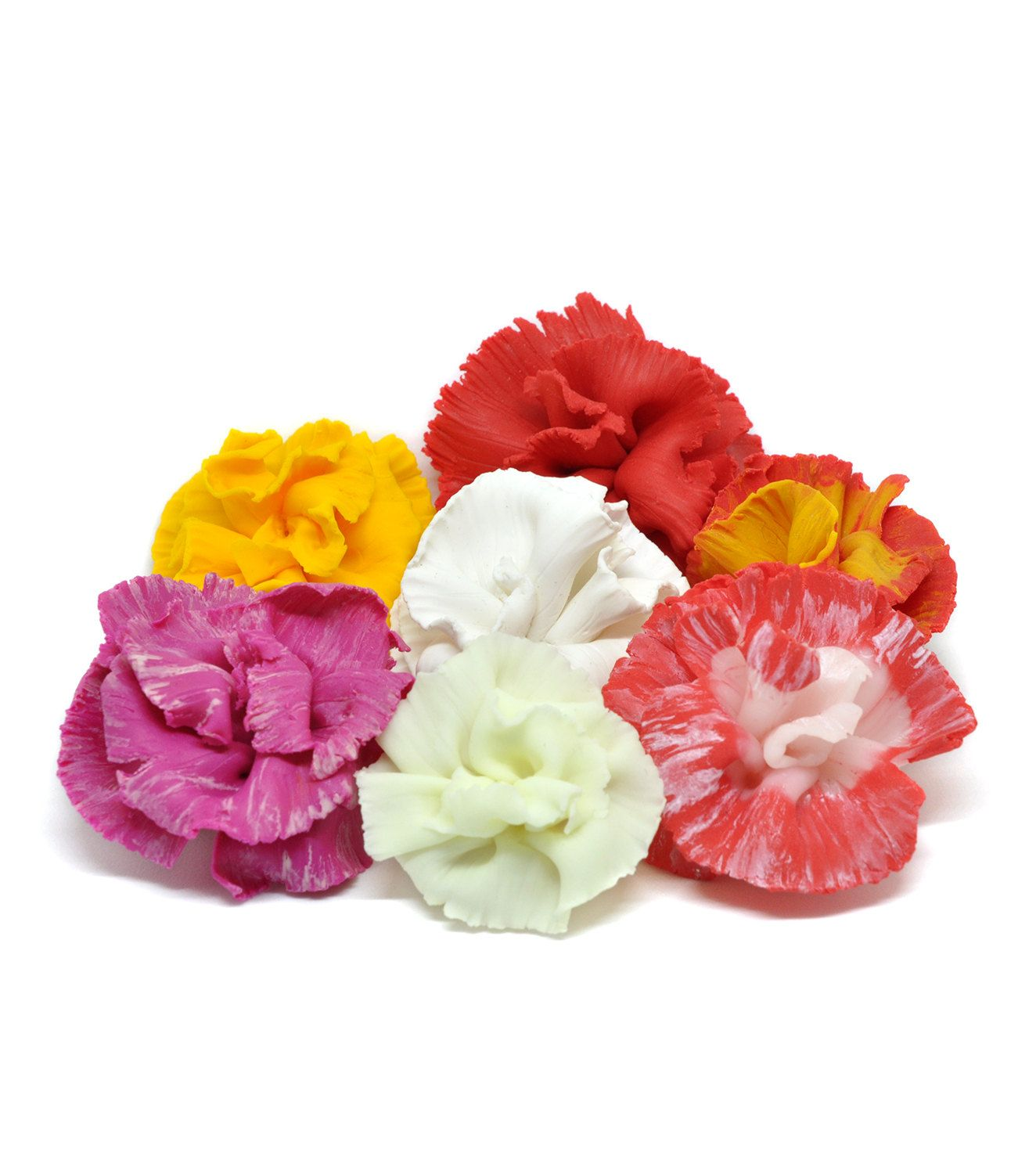 Carnation Brooch Pendant in Different Color Options 2 in 1 Polymer ...