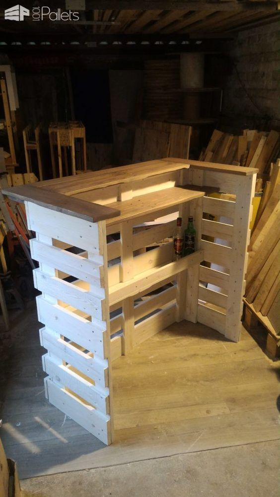 Pallet Console Bar | Wood crafts | Palette diy, Bar salon et ...