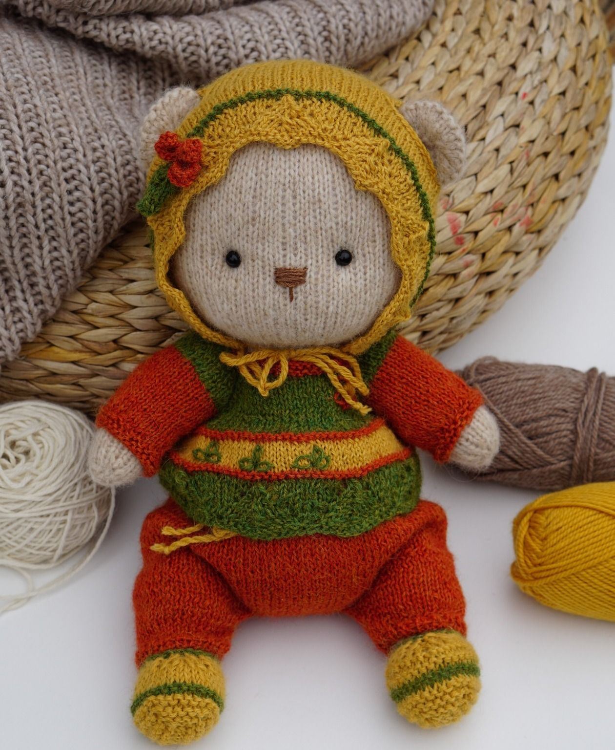 """Bear Doll clothes toy knitting patterns PDF - Outfit """"Cozy ..."""