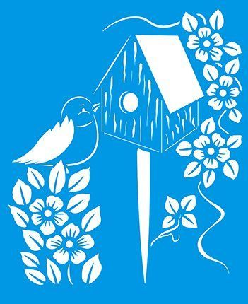 X X Reusable Flexible Plastic Stencil For Graphical Design Airbrush Decorating Wall Furniture Fabric Decorations Drawing Drafting Template Bird House