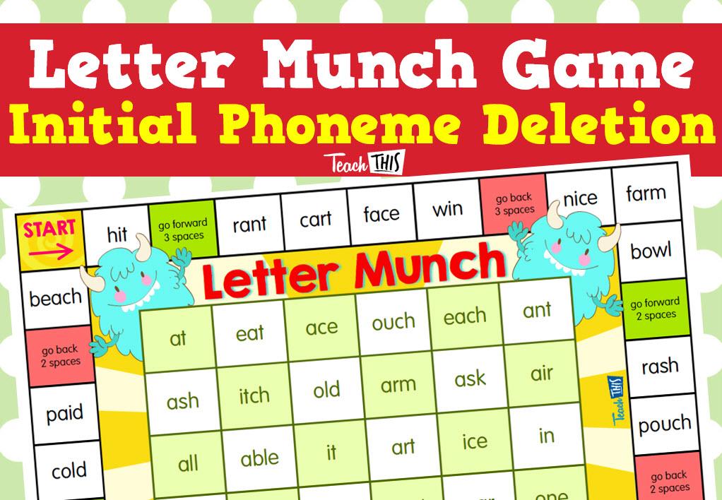 Printable Worksheets phoneme deletion worksheets : Letter Munch Game - Initial Phoneme Deletion | Game activity ...