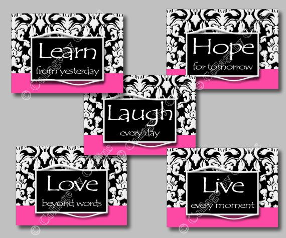pink black white damask art wall decor print