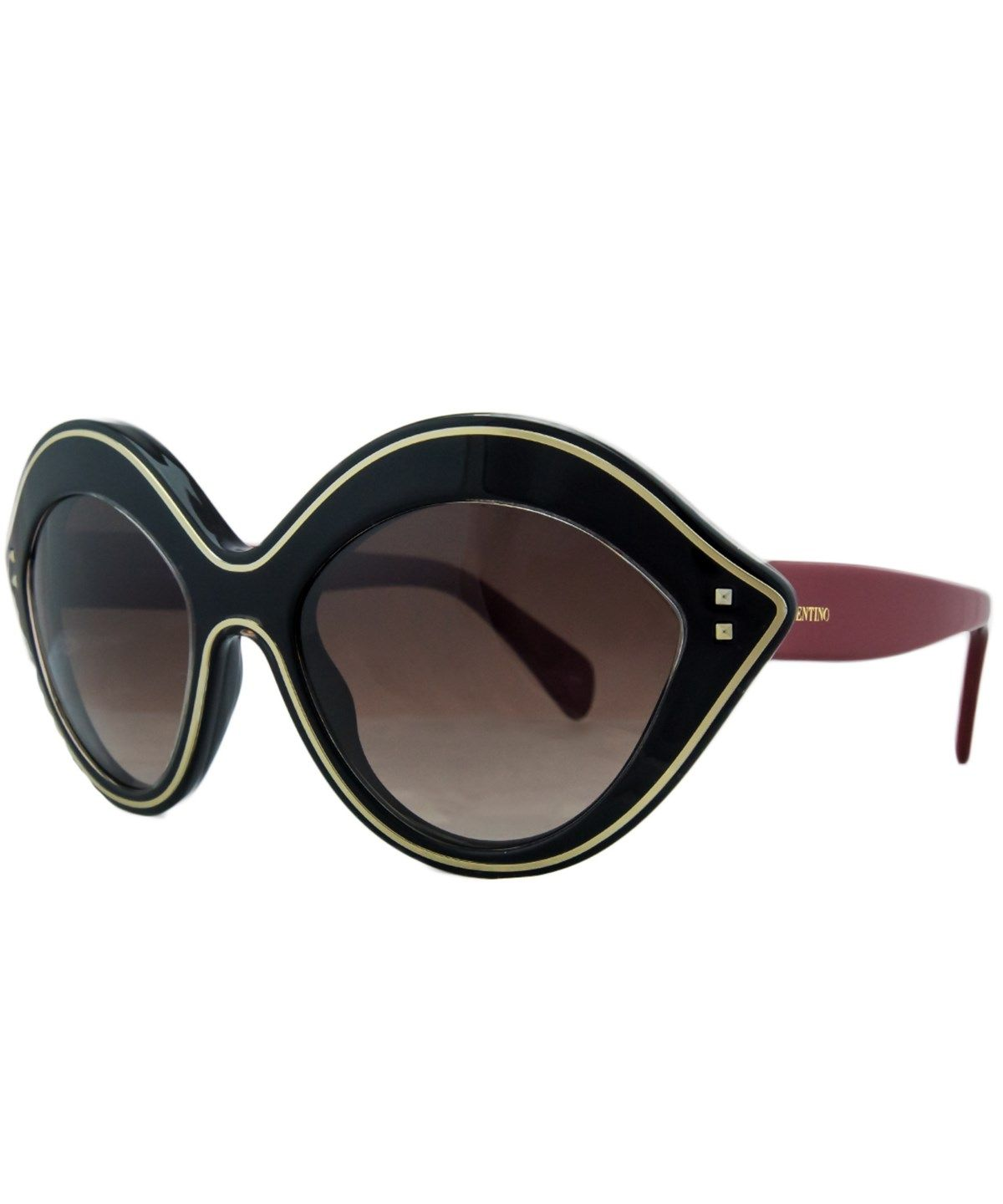 7e0eb5f6c02 VALENTINO V689 S 017 Black Red Oval Sunglasses .  valentino  sunglasses