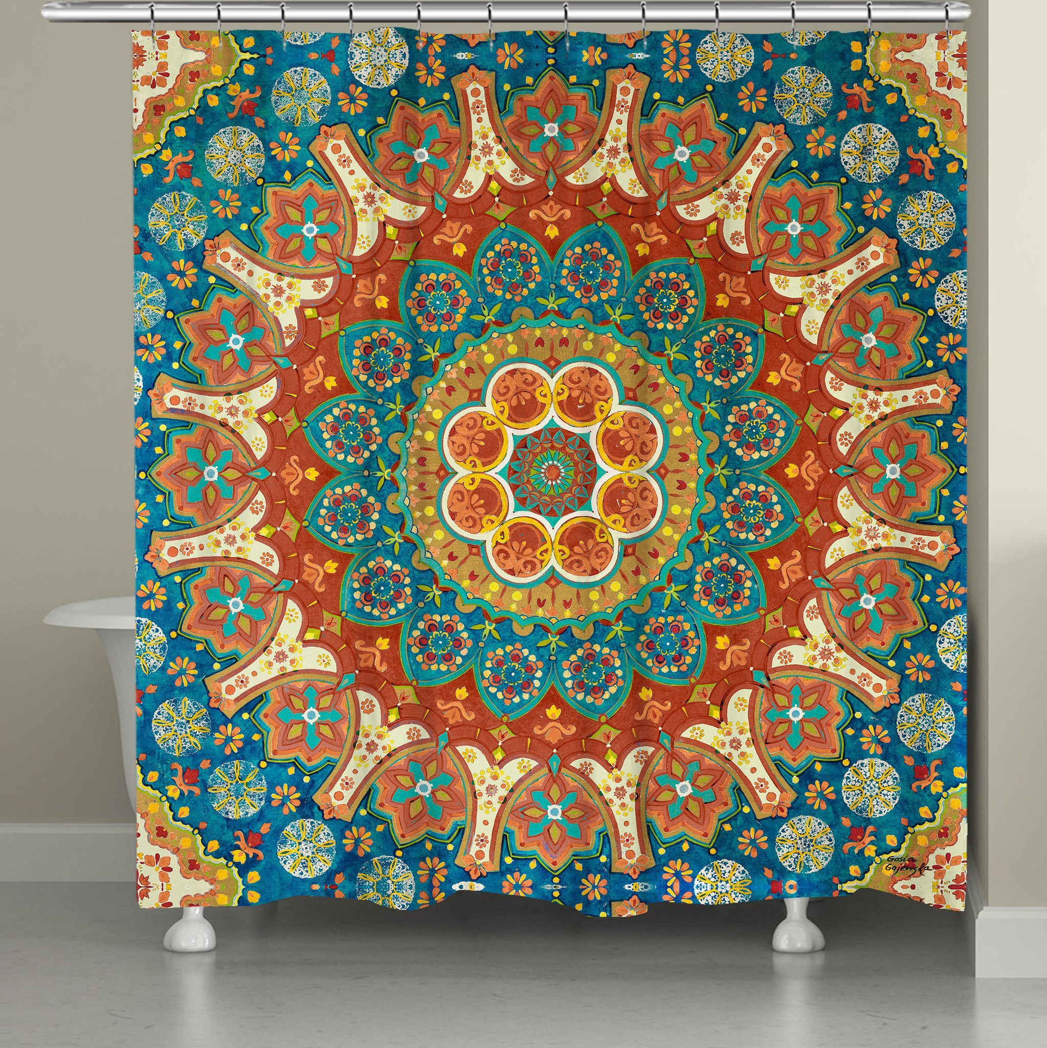 Beautiful Spice Colors And Intricate Designs Make Up The Mandala Shower Curtain All Of Our Products Are Digitally Printed To Create Crisp