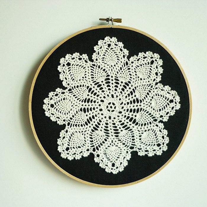 Doily Embroidery Hoop Art - Snowflake at Night - Framed Wall Art - 8 ...