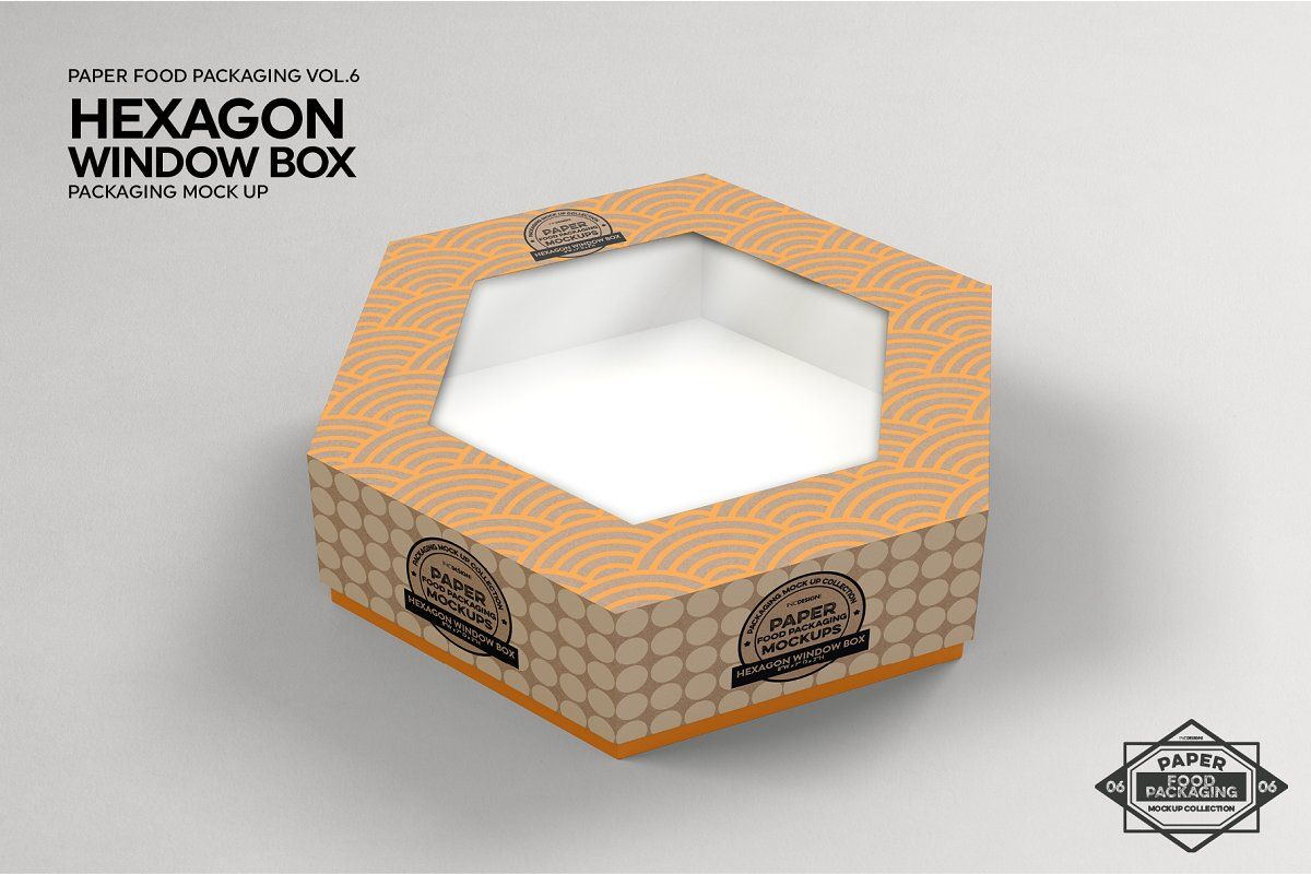 Download Hexagon Window Box Mockup Box Mockup Free Packaging Mockup Window Box