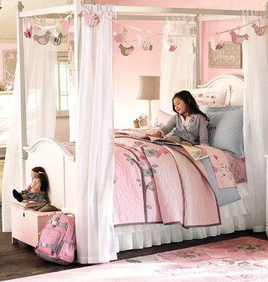 New Pottery Barn Kids Pink Clara Birds Full Queen Quilt