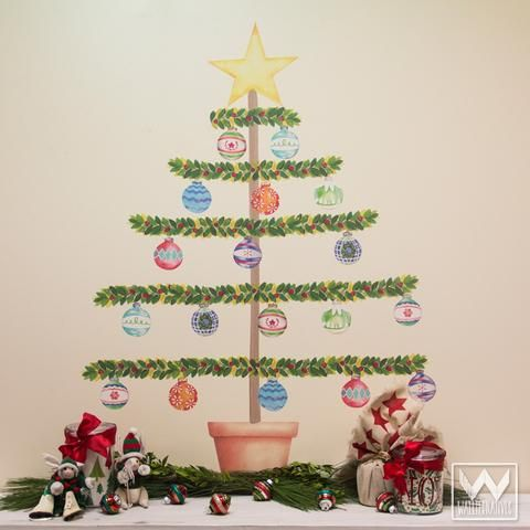 Christmas Tree Ornaments Removable And Reusable Wall Decals For - Christmas wall decals removable