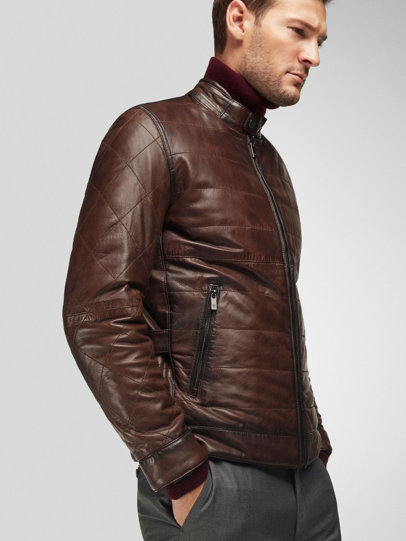 Brown Nappa Reversible Jacket With Navy Blue Interior Massimo Dutti Black Leather Motorcycle Jacket Jackets Leather Wear [ 1866 x 1400 Pixel ]