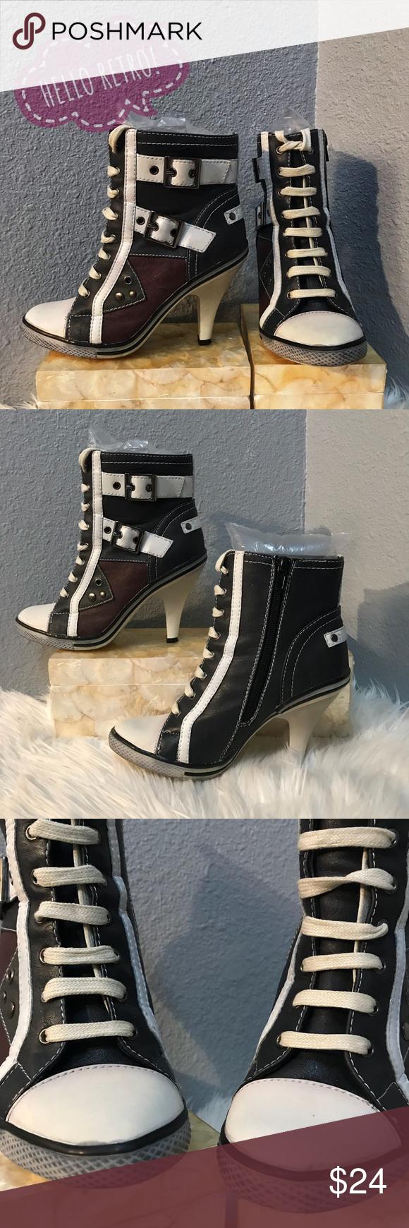 Retro Vintage vegan sneaker boot heels Sneaker boots