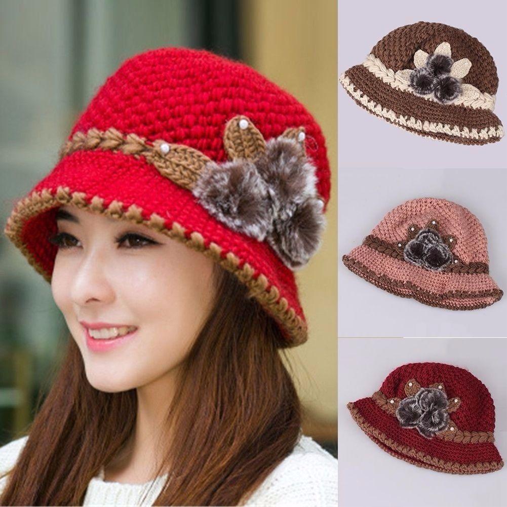 1ec598c27e4 Women Winter Warm Beret Braided Knit Crochet Baggy Beanie Flower Hat Ski Cap