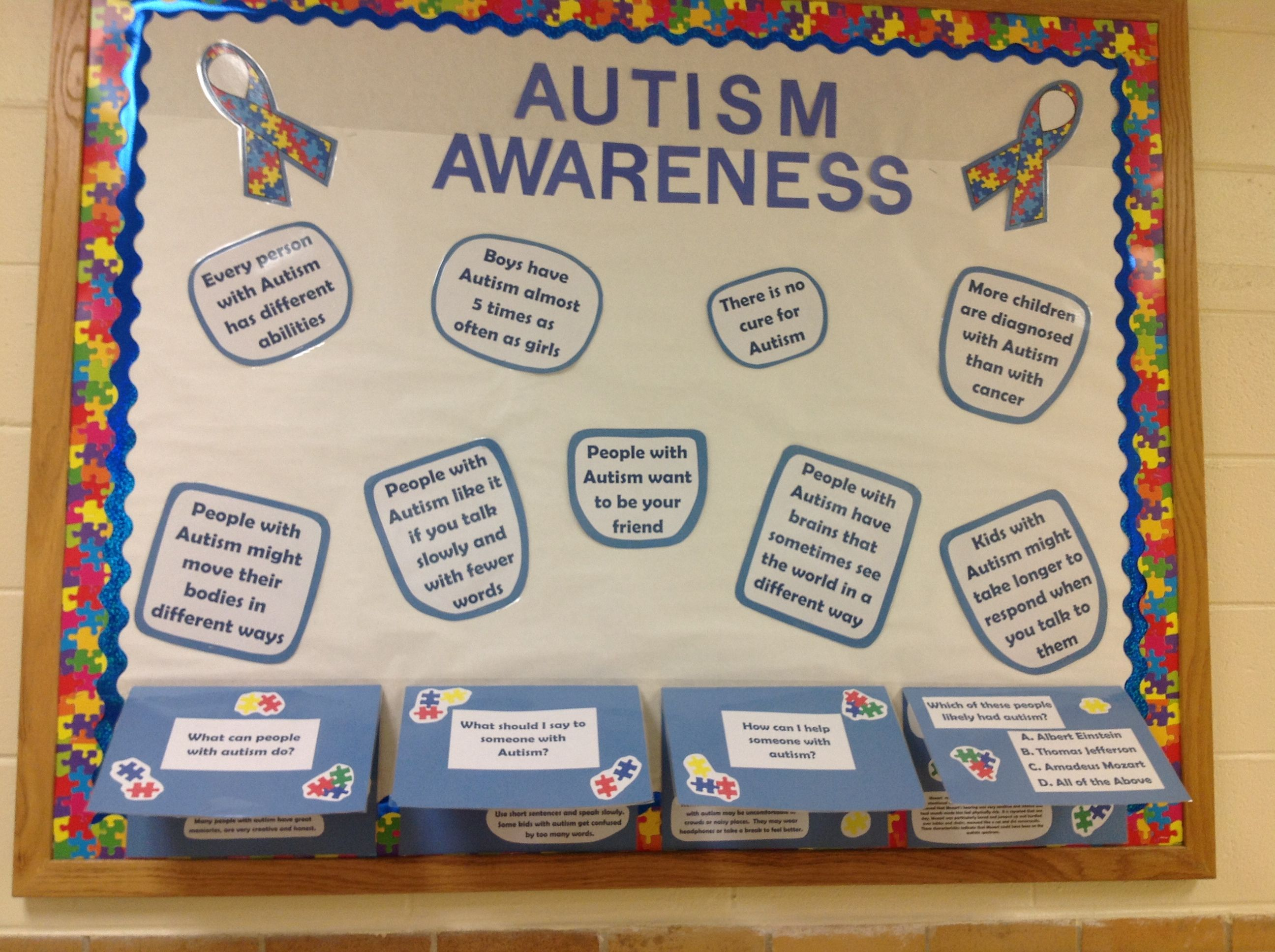 Classroom Ideas For Autistic Students ~ Autism awareness bulletin board school boards