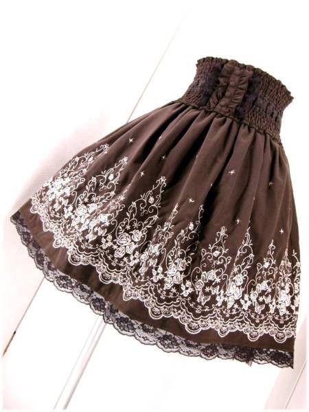 新品◆axes femme◆薔薇 パネル 刺繍 BACKスリット スカート_画像1