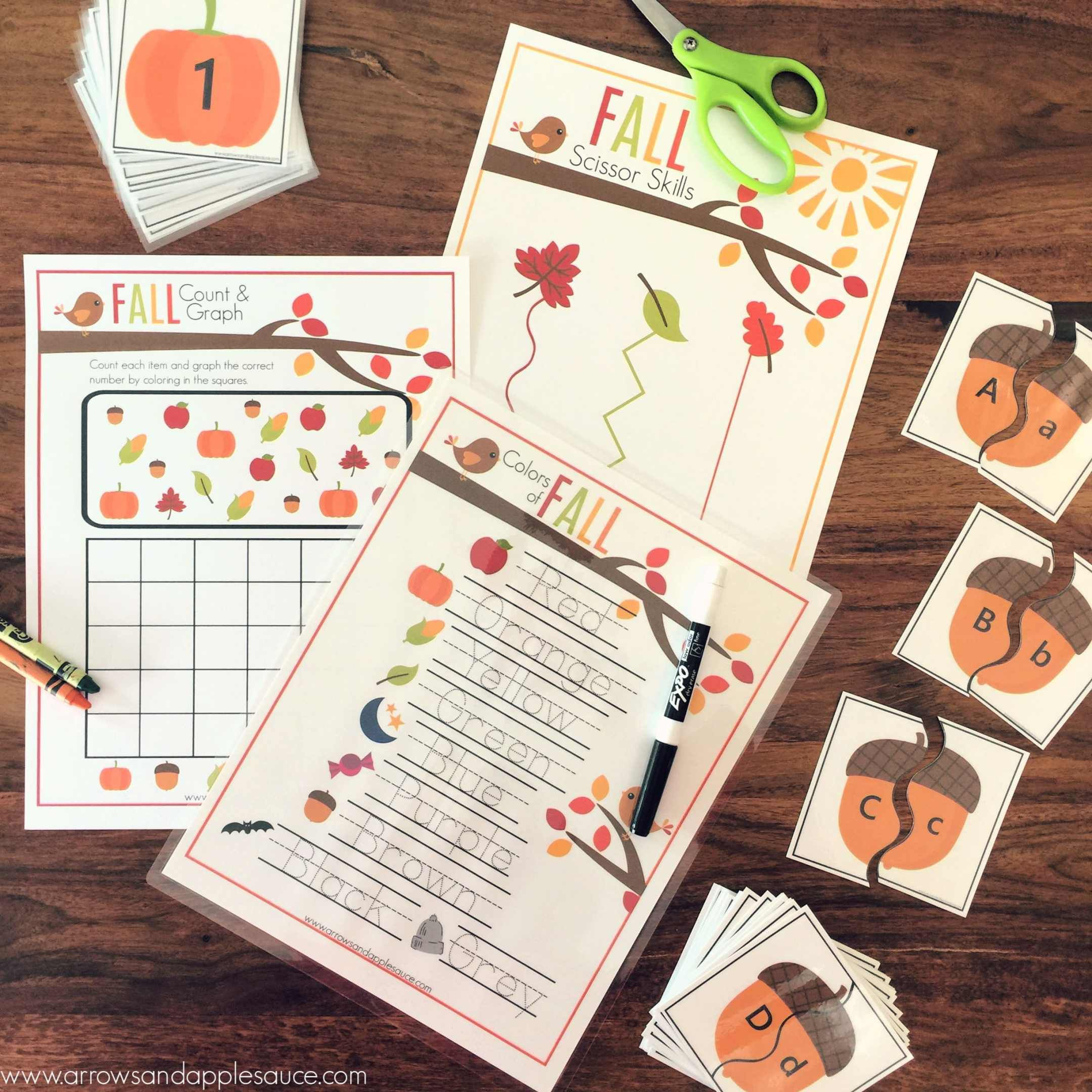 Preschool Fall Theme Printable Activity Bundle