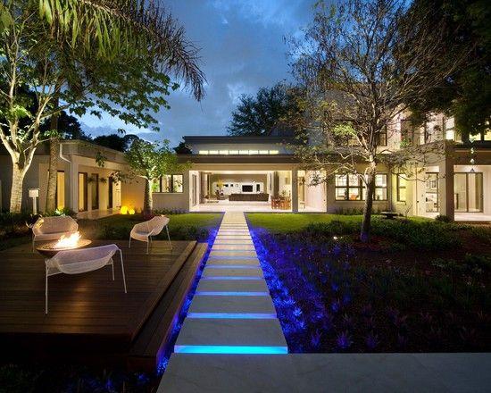 Luces led para exteriores landscape pinterest - Iluminacion de jardines modernos ...