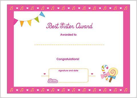 Best Sister Printable Award Certificate Printable Certificates Printable Activities For Kids Free Gift Certificate Template