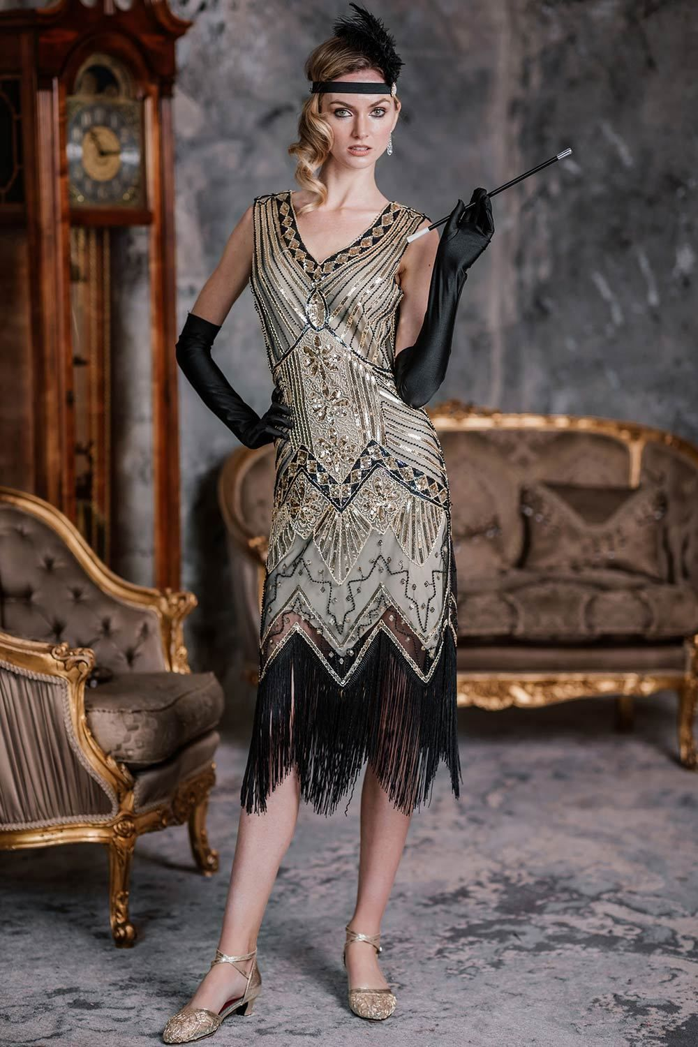 Champagne 1920s Sequined Flapper Dress In 2020 1920s Inspired Dresses Vintage Flapper Dress 1920s Fashion