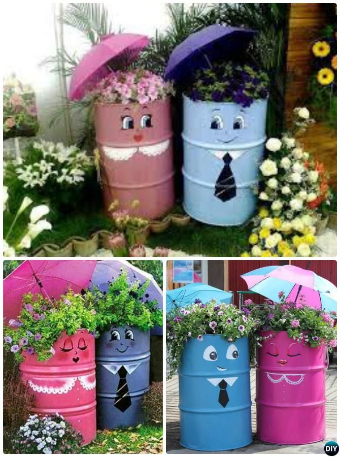 DIY Painted Drum Planter Instructions 20 DIY Upcycled