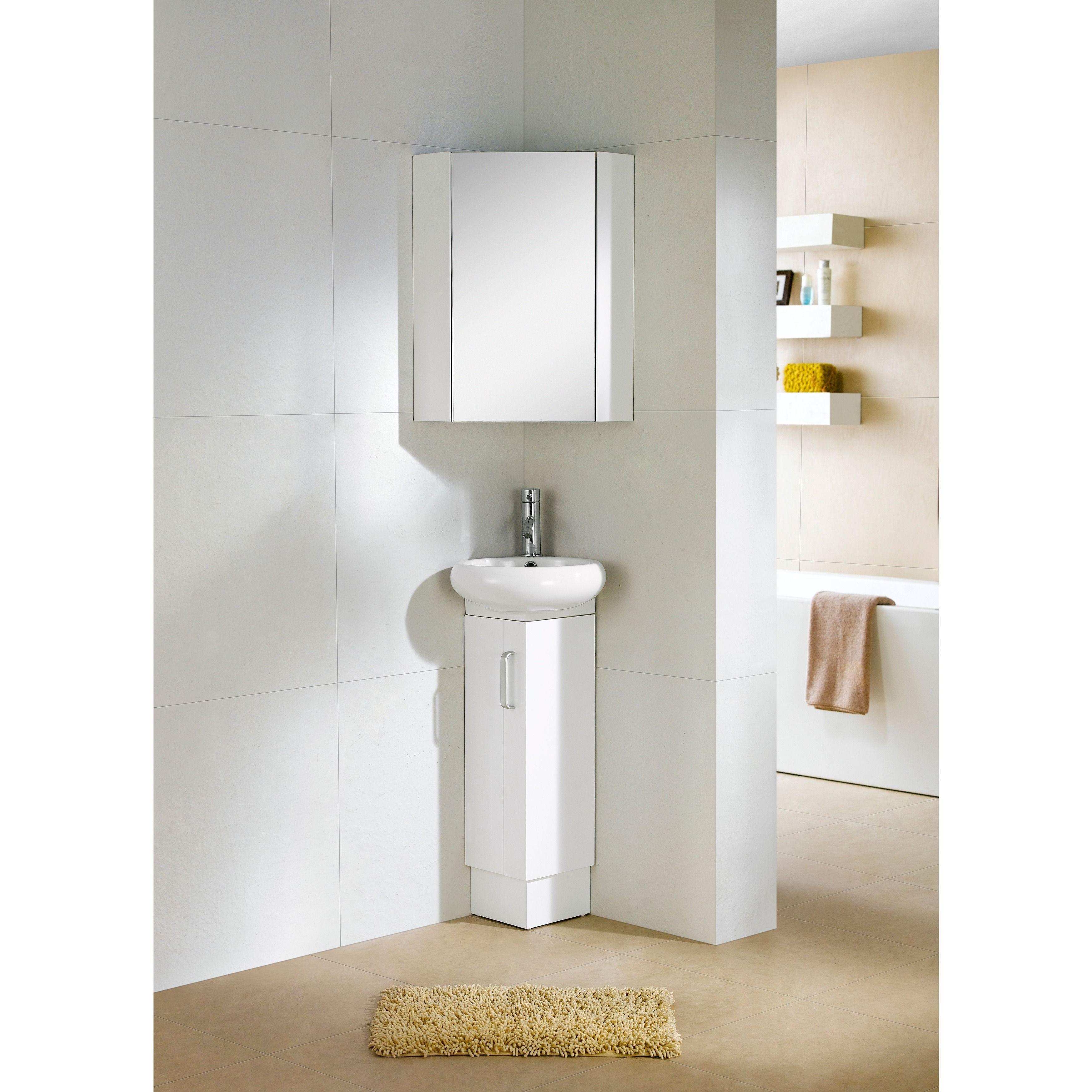 Fine Fixtures Milan Wood White Small Corner Bathroom Vanity