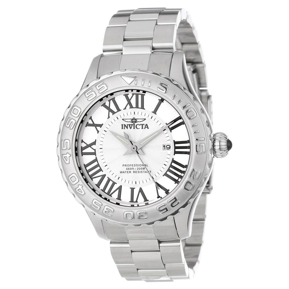 Invicta 14378 Men's Pro Diver Silver Textured Dial Stainless Steel Dive Watch,