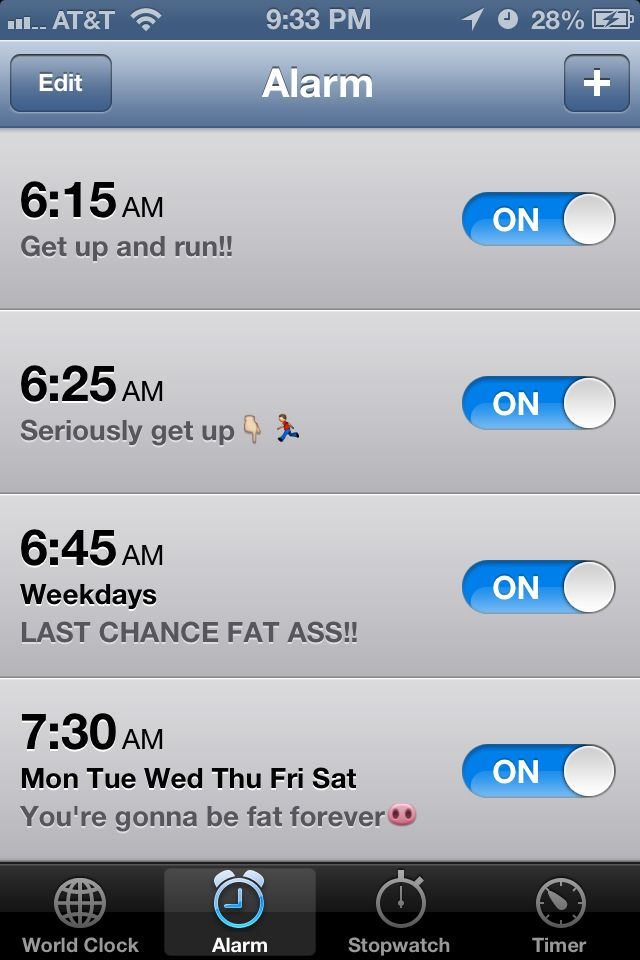 Running motivation ;)  I should start setting my alarms like this.  this is hilarious!!!