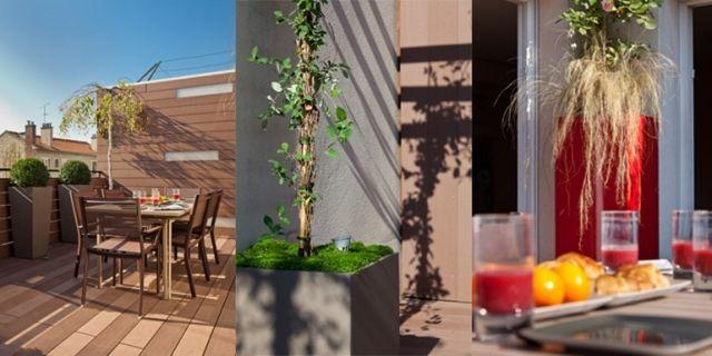 Designer Pflanzkübel aus Faserzement Grüner Sichtschutz