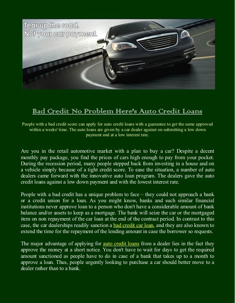 People With A Bad Credit Score Can Apply For Auto Credit Loans With