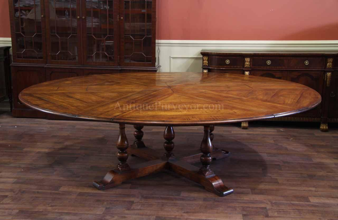 Extra Large Round Country Table with Leaves Seats 10-12 People ...