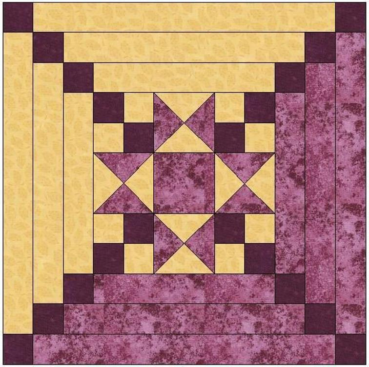 Star Center Log Cabin Quilt Block | Bluprint