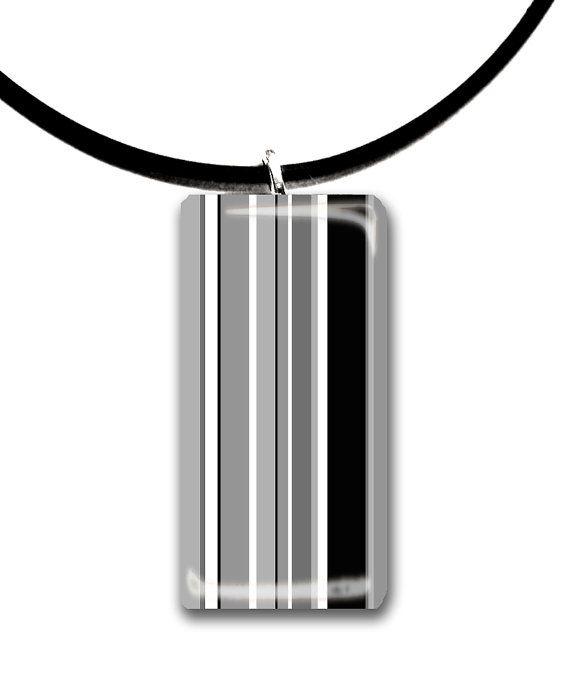 black and white modern stripes handmade glass by StedmanStudio, $12.00