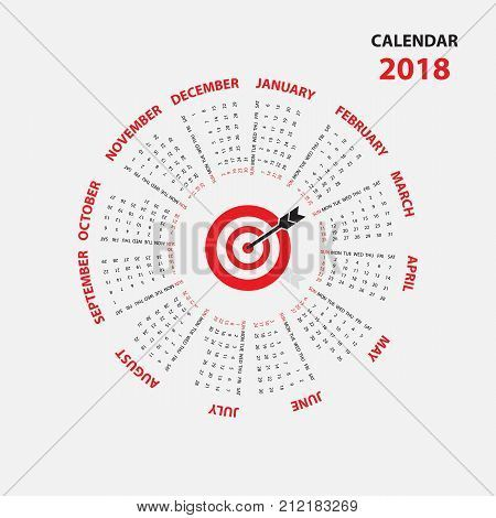 2018 Calendar Templatelendar For 2018 Yearlendar Starts From