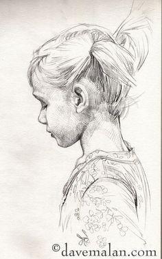 pencil sketch side profile child pencil portrait pinterest