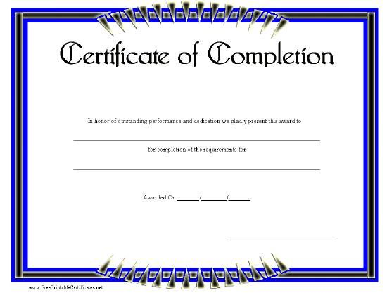 Certificate Of Completion Printable Certificate Certificate Of Completion Template Printable Certificates Certificate Design Template