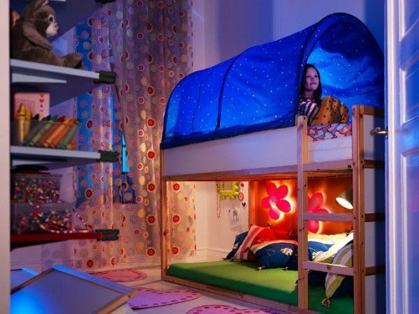 Some Cool Ikea Kids Bedroom Beauteous Ikea Kids Bedroom Using Low Bunk Beds And Blue