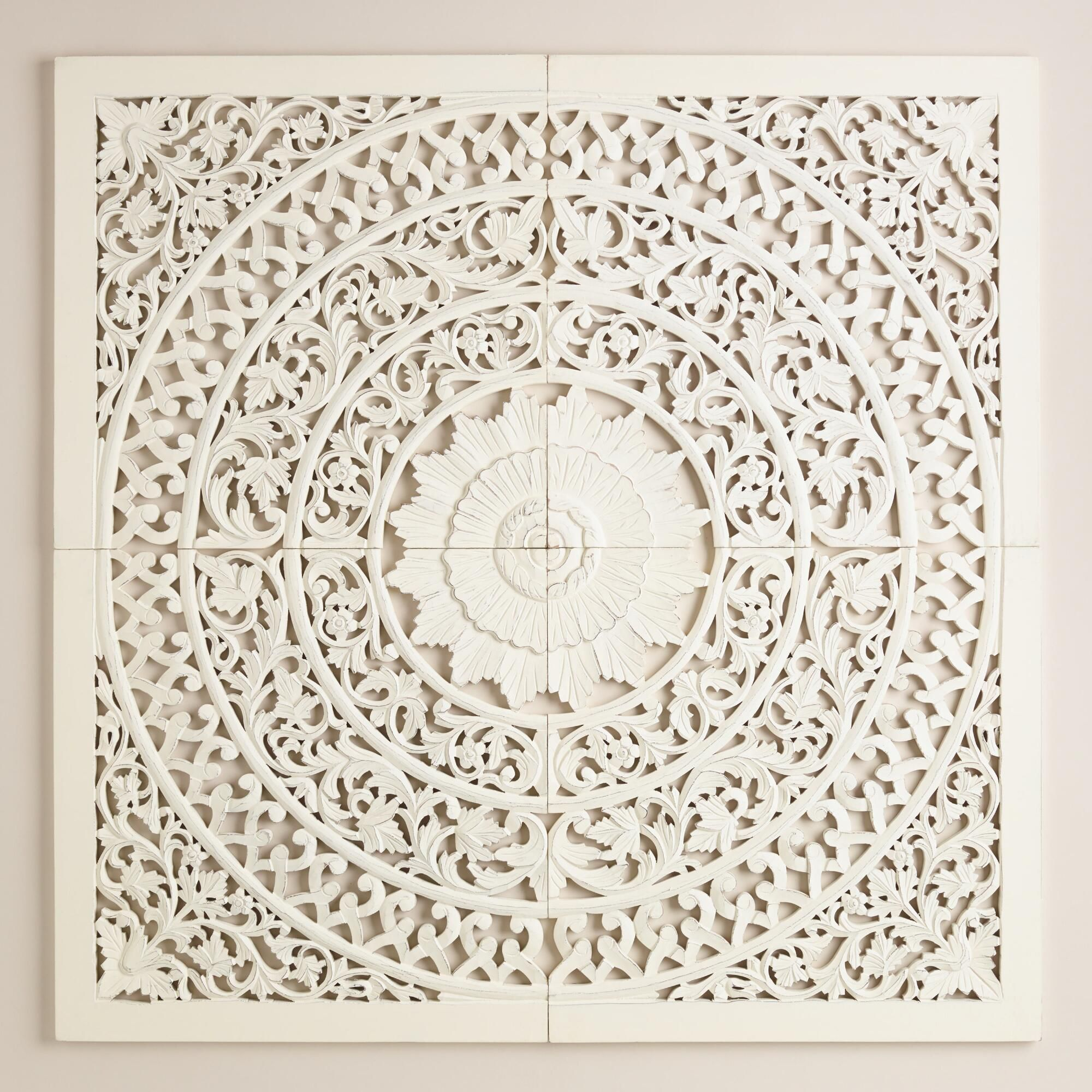 Hand Carved In India Our White Wall Plaque Makes A Grand Globally Inspired Statement As A Headboard Alternati Carved Wall Art White Wall Plaques Wall Plaques