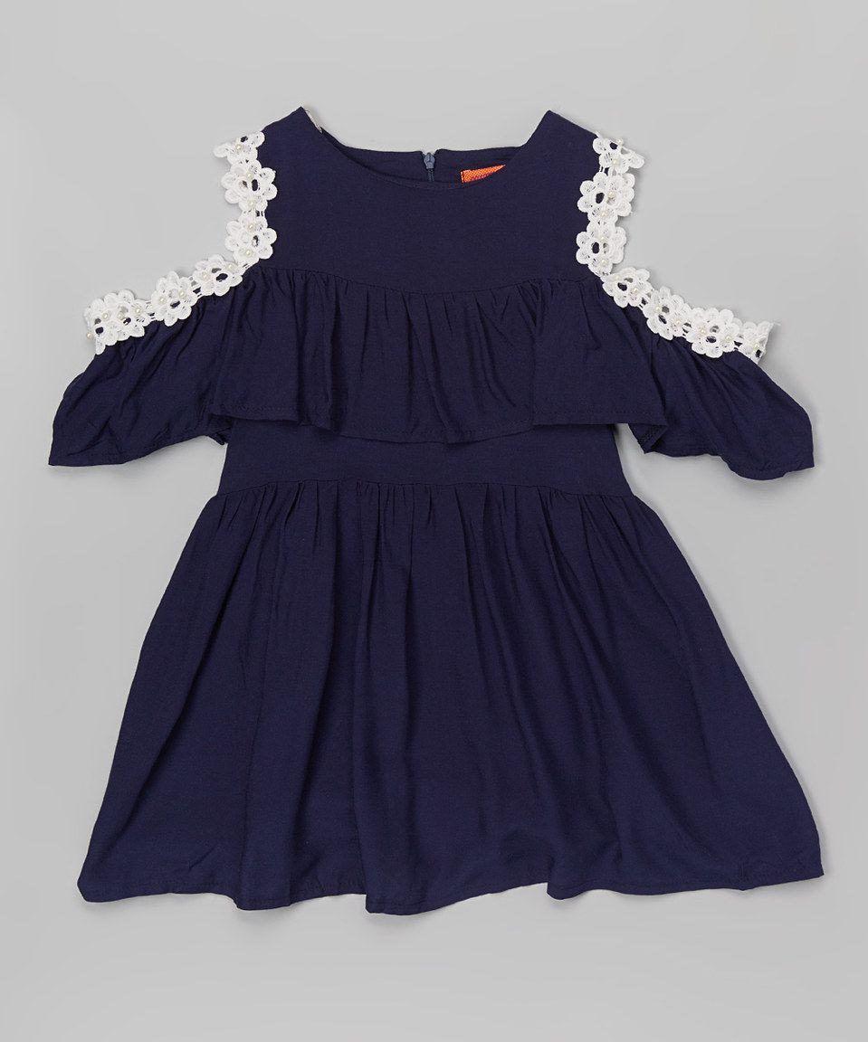 Paulinie Navy Off-Shoulder Dress - Toddler & Girls by Paulinie #zulily #zulilyfinds