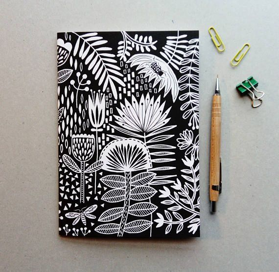 Black And White Monochrome Floral Notebook A5 Hand Drawn