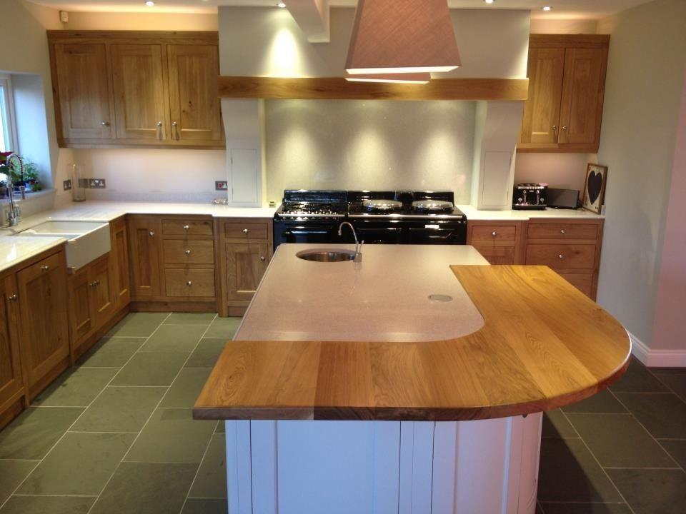 Beautiful Kitchen Curved Oak Breakfast Bar Painted Island Unit