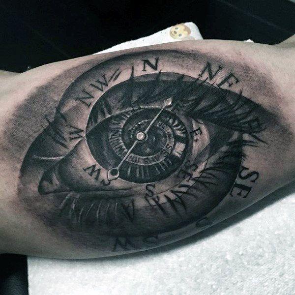 Eye And Multiple Clock Tattoo: 100 Inner Bicep Tattoo Designs For Men