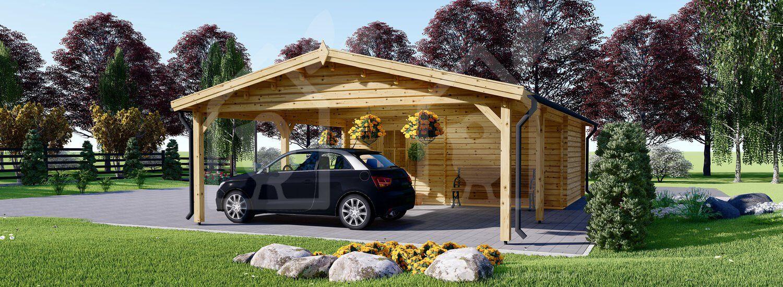Garage en bois 400x595 44mm+Carport Double 550x595, 57m²