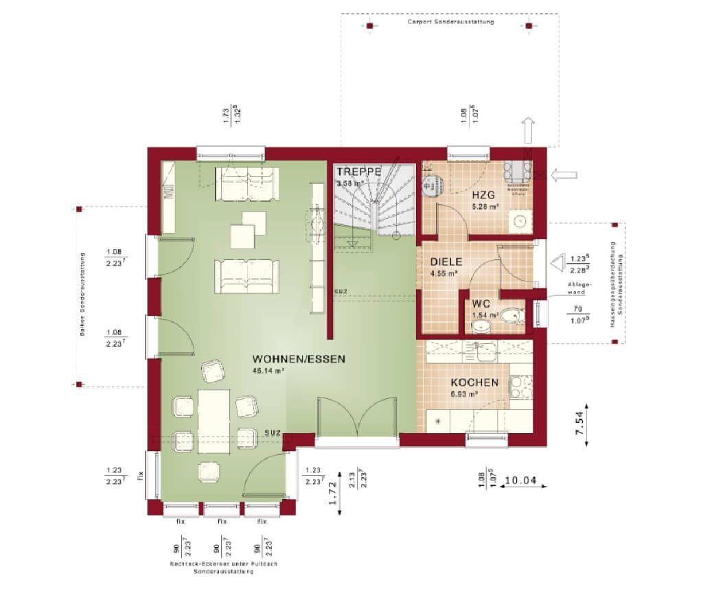 grundriss einfamilienhaus erdgeschoss modern offen mit erker anbau haus evolution 122 v5 bien. Black Bedroom Furniture Sets. Home Design Ideas