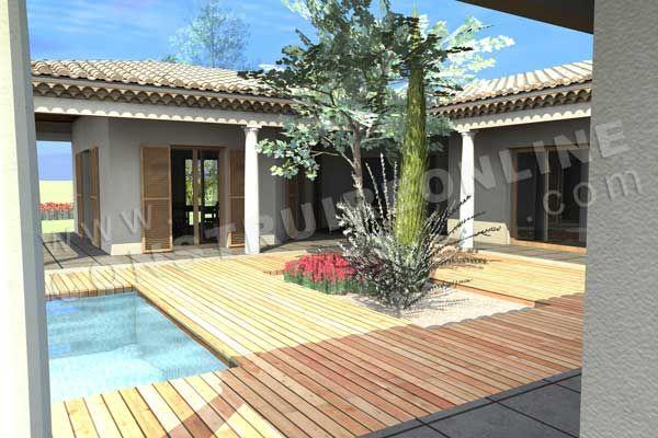 plan de maison en U mediterraneenne ESTRAN piscine terrasse Belle