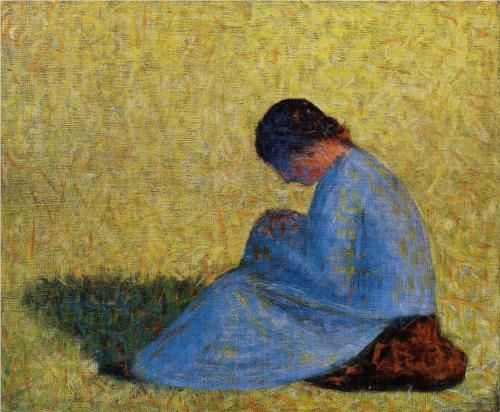 Peasant Woman Seated in the Grass - Georges Seurat, 1882-3